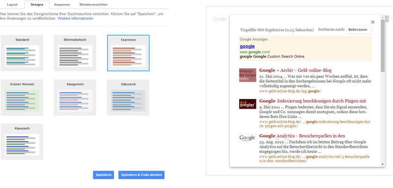 Benutzerdefinierte Suche