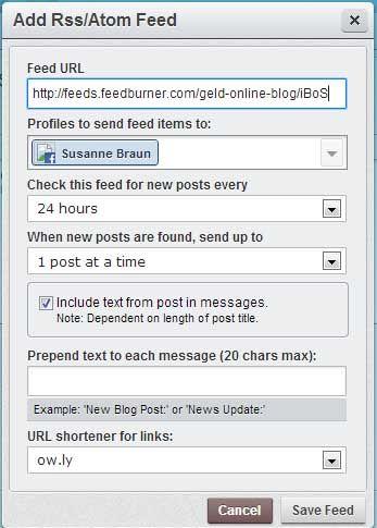 Seine Blogbeiträge automatisch auf Facebook posten auf Hootsuite
