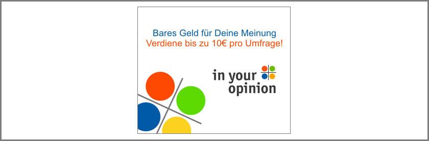 Kleines Geld verdienen mit Umfragen von in your opinion