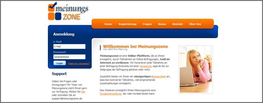 Geld online verdienen mit Umfragen von Meinungszone.de