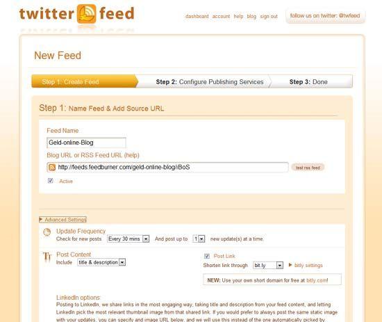 Seine Blogbeiträge automatisch auf Facebook posten mit Twitterfeed