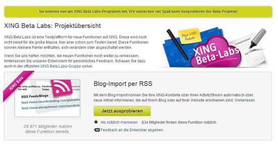 RSS-Feed auf Xing aktivieren