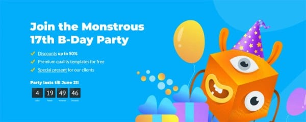 17 Jahre TemplateMonster. Großer Geburtstags-Sale bis 50 % Rabatt auf Bestseller-Themes!