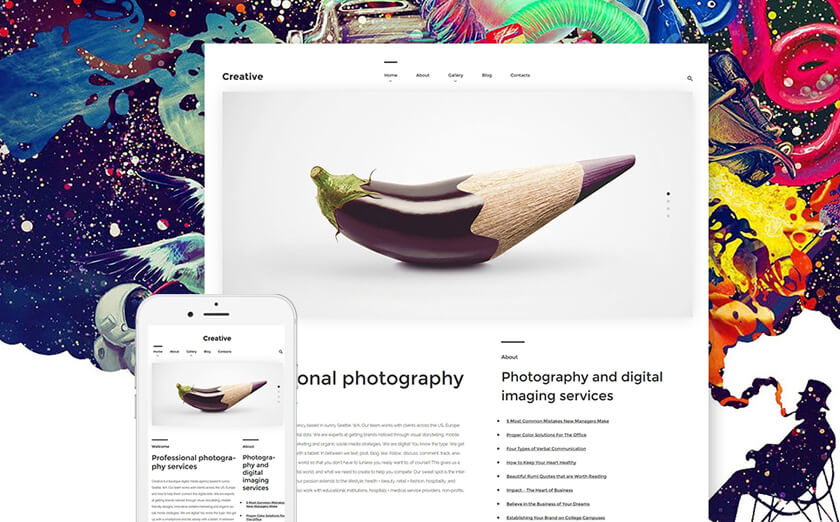 Responsives WordPress Theme für Fotostudios