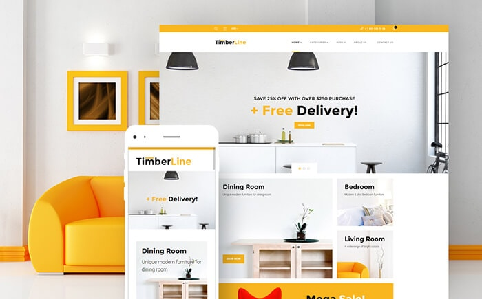 TimberLine - Interior Decor & Furniture Store WooCommerce Template
