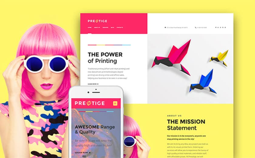 "Responsives WordPress Theme mit den Namen ""Presstige - Digitaldruckerei"""
