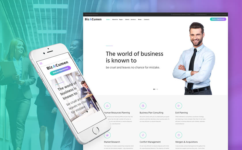 "WordPress-Theme namens ""BizACumen"""