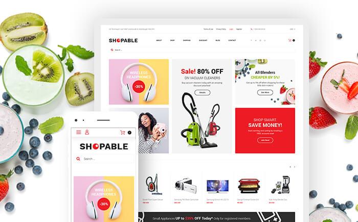 Das Erstellen eines schnellen und benutzerfreundlichen Online-Shops kann und soll einfach sein! Die Woostroid Vorlage kommt mit 5 fertigen Shop-Themen für Stores, die Kleidung, Werkzeuge, Dessous, Schmuck und andere Produkte verkaufen. Shopable - Multifunctional Online Store WooCommerce Theme