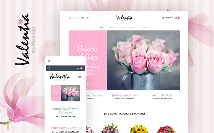Valentia - Flower Store WooCommerce Template