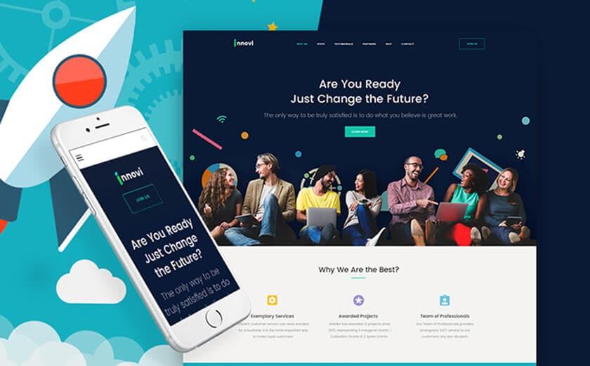 "Responsives WordPress Theme mit dem Namen ""Startup & Kreative Digitalagentur"""