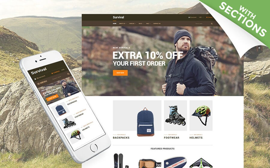 Survival - Travel Equipment Shopify Theme