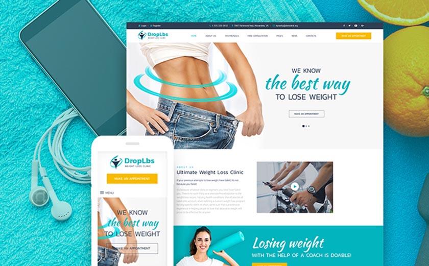 "Responsives WordPress Theme mit dem Namen ""DropLbs - Klinik für Gewichtsabnahme"""