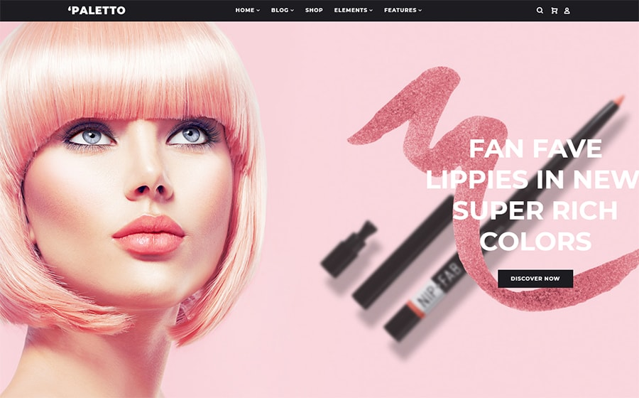 Paletto - Elementor WooCommerce Theme für einen Kosmetikshop