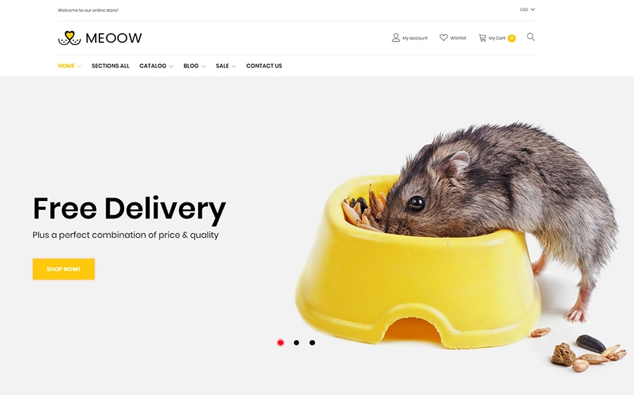 Meoow - Shopify Theme für einen Tiershop