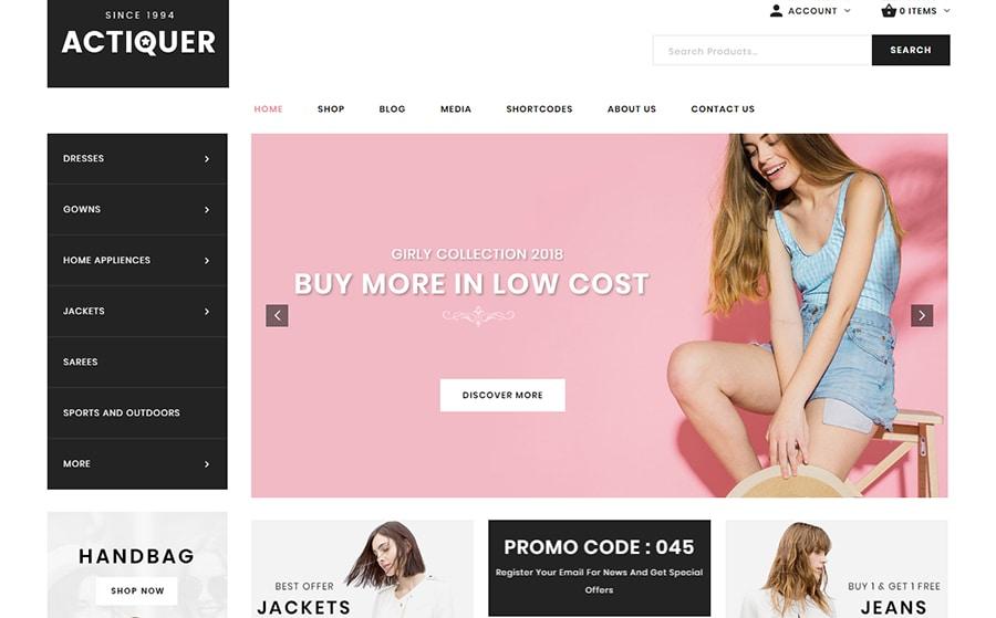 Actiquer - WooCommerce Theme für einen Modeshop