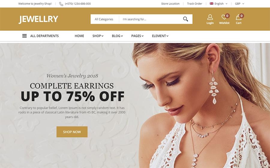 Jewellry - WooCommerce Theme für einen Schmuckshop