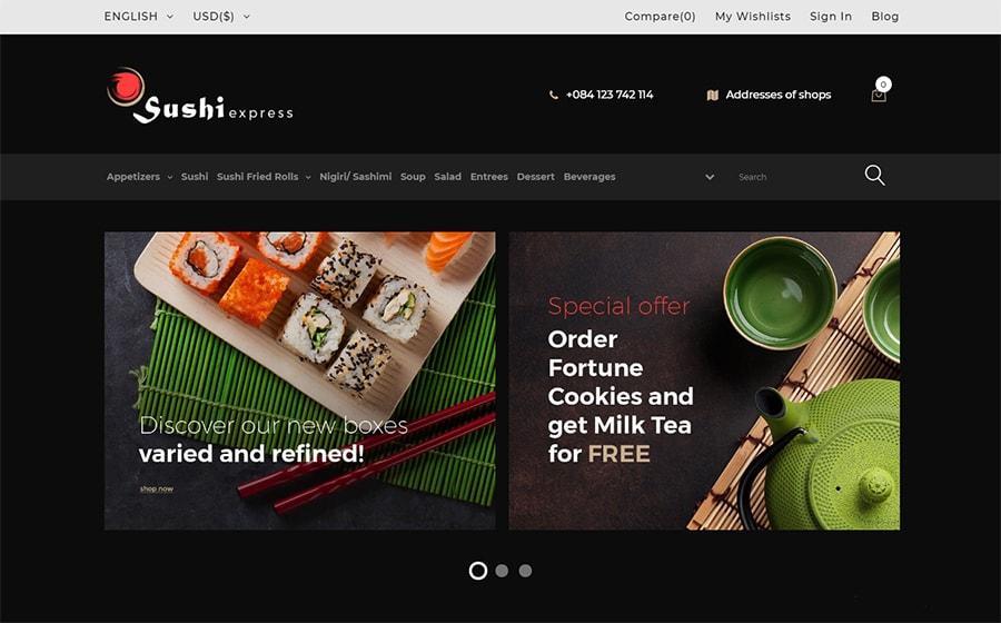 SushiExpress - PrestaShop Theme für einen Sushi-Lieferservice