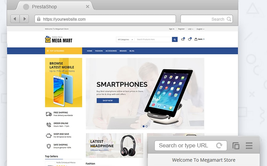 PrestaShop Theme namens Megamart Digital Store
