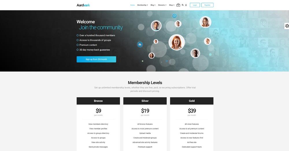 Aardvark BuddyPress-Theme
