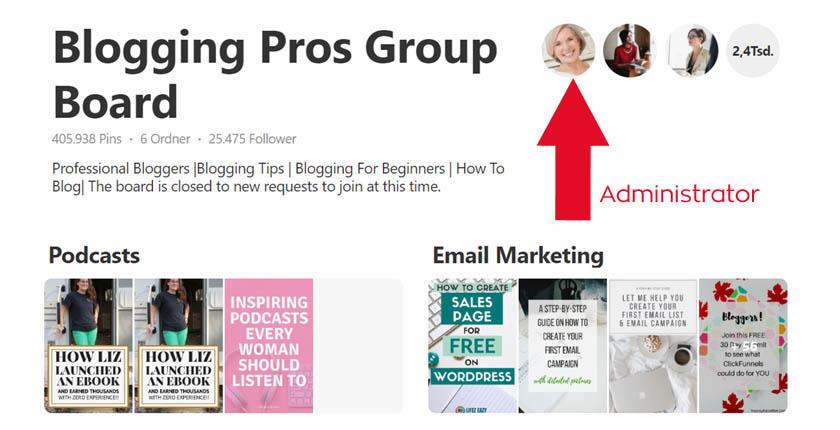Gruppenboard-Administrator auf Pinterest