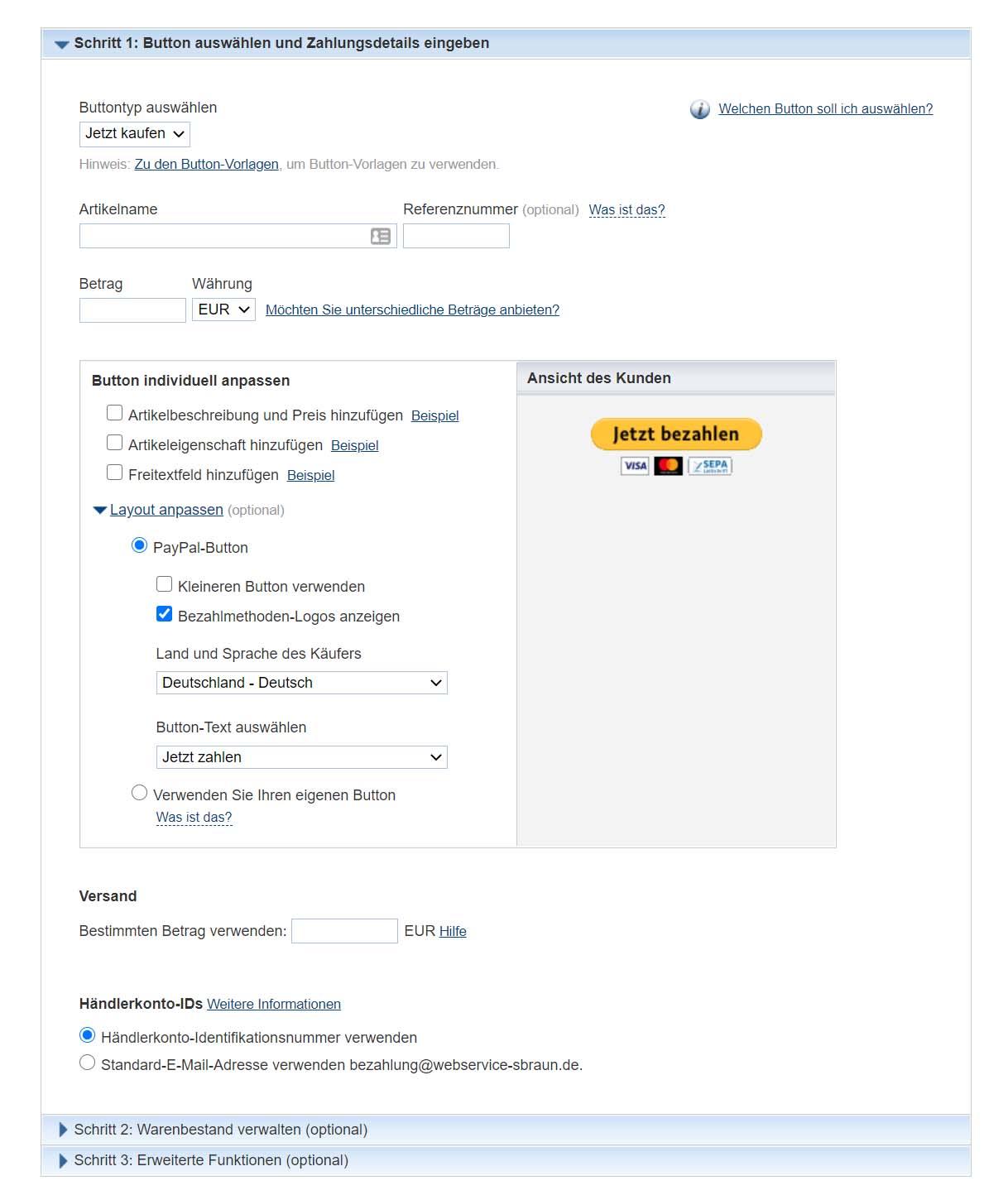 PayPal-Button erstellen