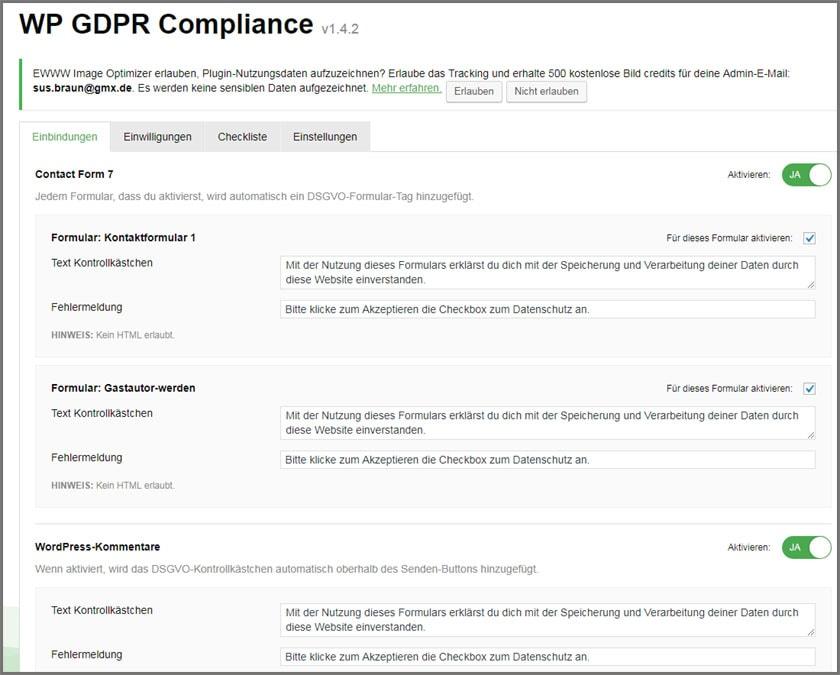 WP GDPR Compliance-Plugin