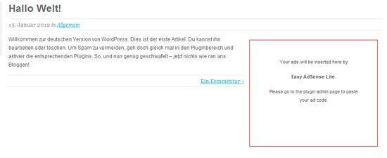 Google Adsense - Teil 6: WordPress-Plugins für Adsense-Anzeigen - Easy Adsense Lite