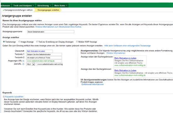 Google AdWords - Anzeigengruppe erstellen