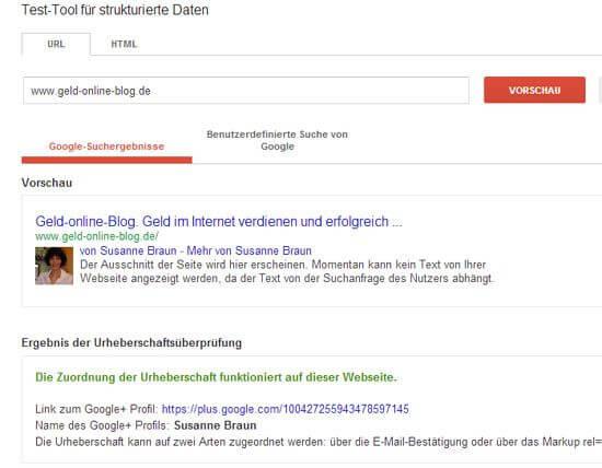 Testergebnis Google+ Authorship