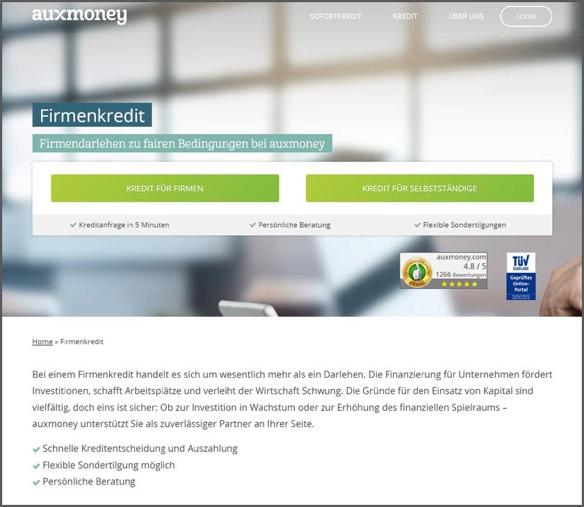 Firmenkredit bei auxmoney beantragen