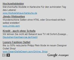 So sehen Google Adsense Textanzeigen aus.