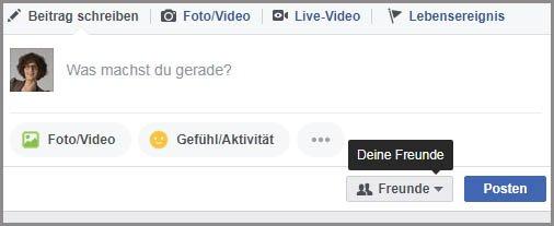 Prviatsphäre-Einstellungen beim Posten auf Facebook