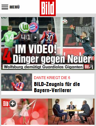 Mobile Website der BILD