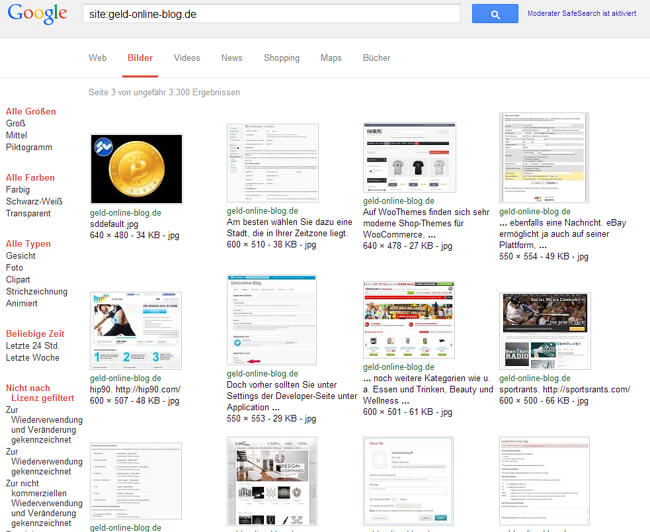 Indexierung der Website-Bilder in Google