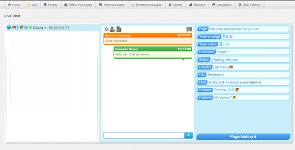 Live-Fenster von LiveSupporti