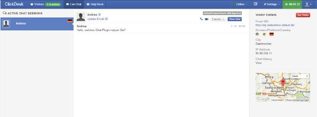 Chat-Fenster im Agent Bereich von ClickDesk