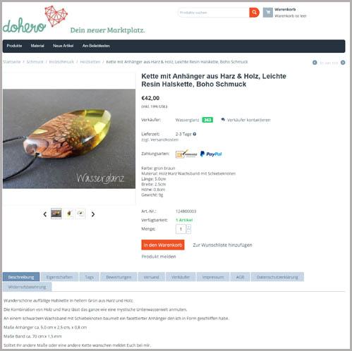Dohero - Produktdetailseite