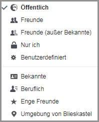 Facebook-Privatsphäreeinstellungen