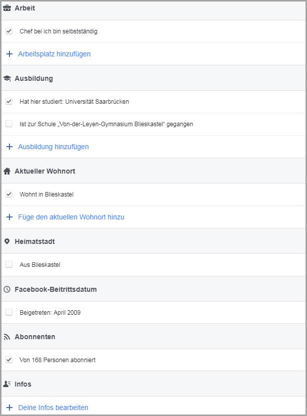 Infos auf Facebook-Profil