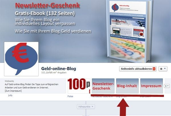 Facebook-Seite von Geld-online-Blog