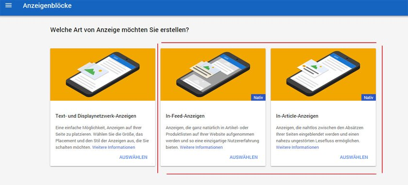In-Feed-Ads und In-Article-Ads von Google AdSense