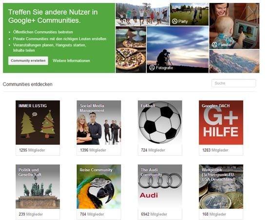 Google+ Community Übersicht