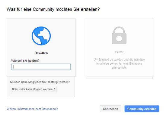 Einstellungen Google+ Community