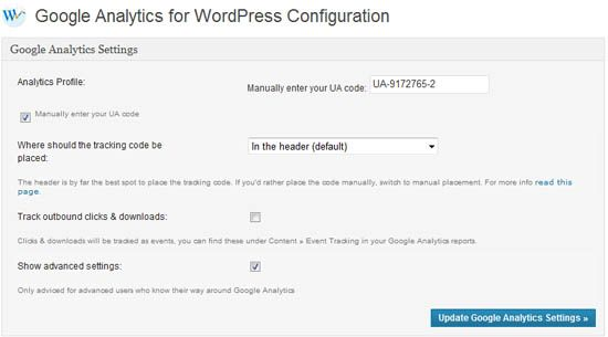 Google Analytics for WordPress - Einstellungen