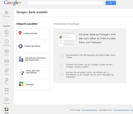Google + Seite