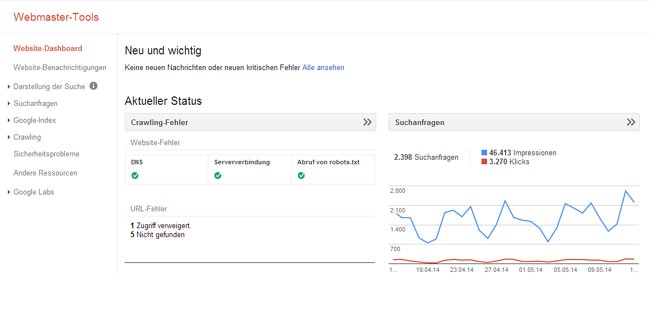 Dashboard - Google Webmaster Tools