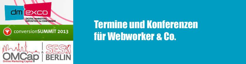 Interessante Termine und Konferenzen für Webworker & Co. in Deutschland