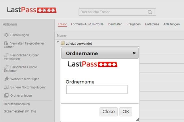Lastpass-Tresor