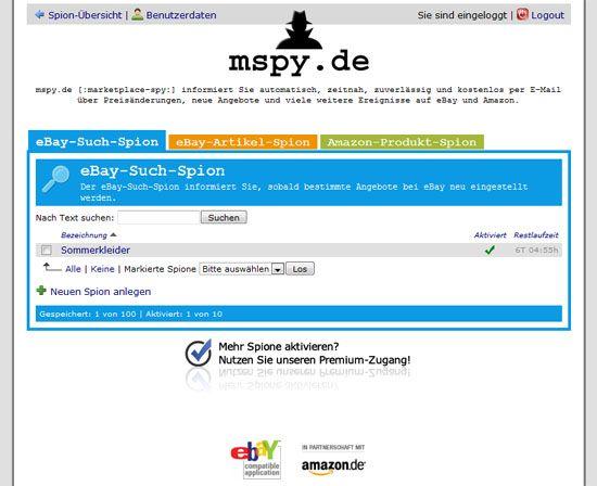Preisspion mspy für Angebote auf eBay und Amazon