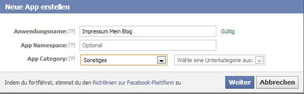 Facebook- Neue App erstellen